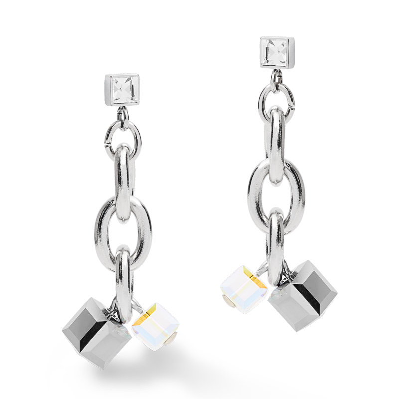 Earrings casual & chunky chain stainless steel & Swarovski® Crystals silver-crystal
