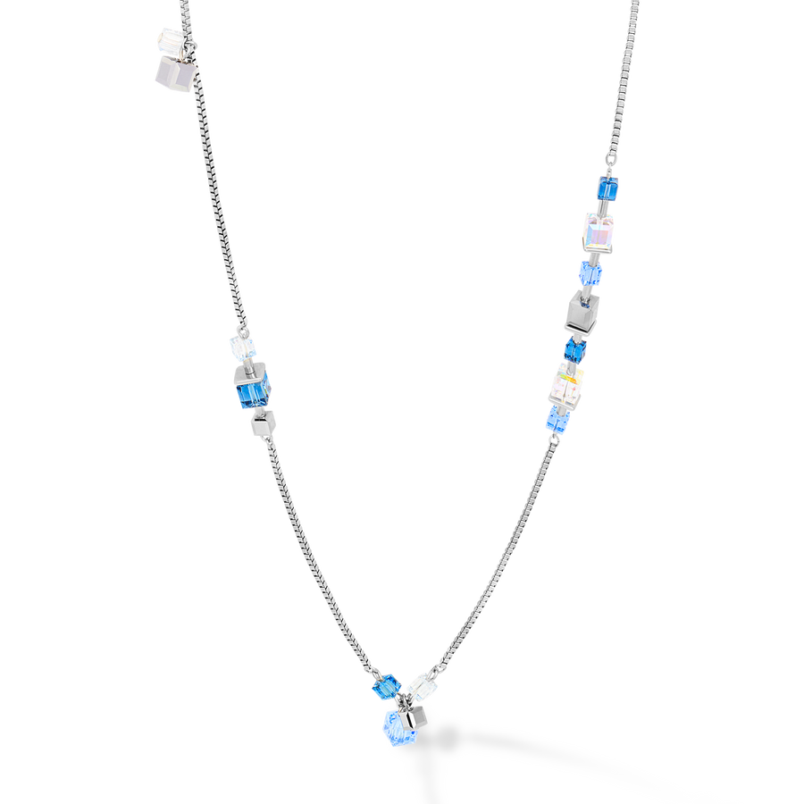 Necklace GeoCUBE® chain long stainless steel & Swarovski® Crystals silver-blue