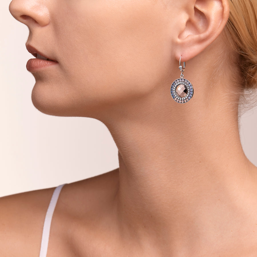 Earrings Amulet Swarovski® Crystals & stainless steel mesh silver-light blue