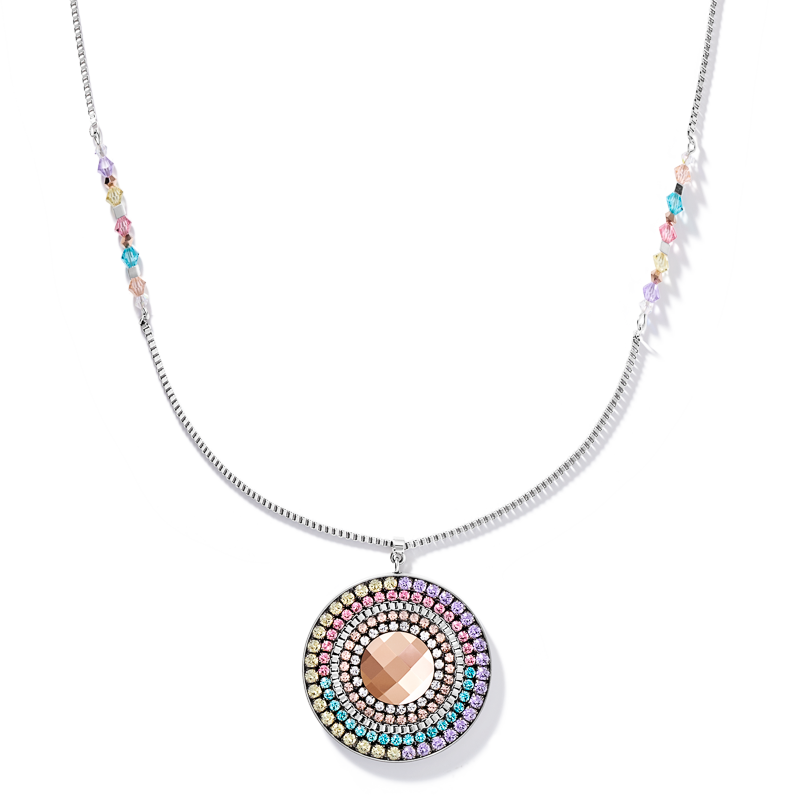 Necklace Amulet chain long stainless steel & Swarovski® Crystals silver-multicolour-pastel