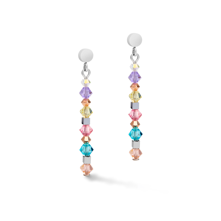 Earrings Amulet chain long stainless steel & Swarovski® Crystals silver-multicolour-pastel