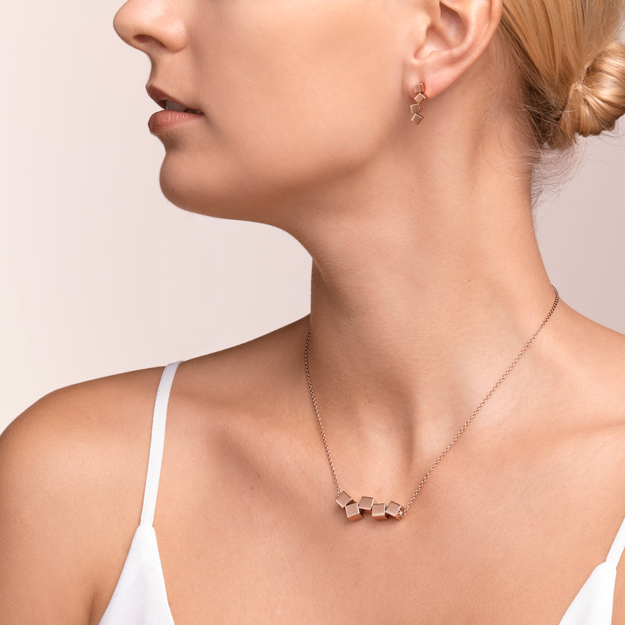 Necklace Dancing GeoCUBE® stainless steel rose gold