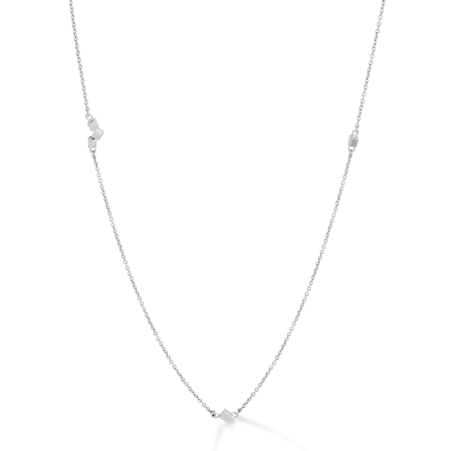 Necklace Dancing GeoCUBE® small chain long stainless steel silver