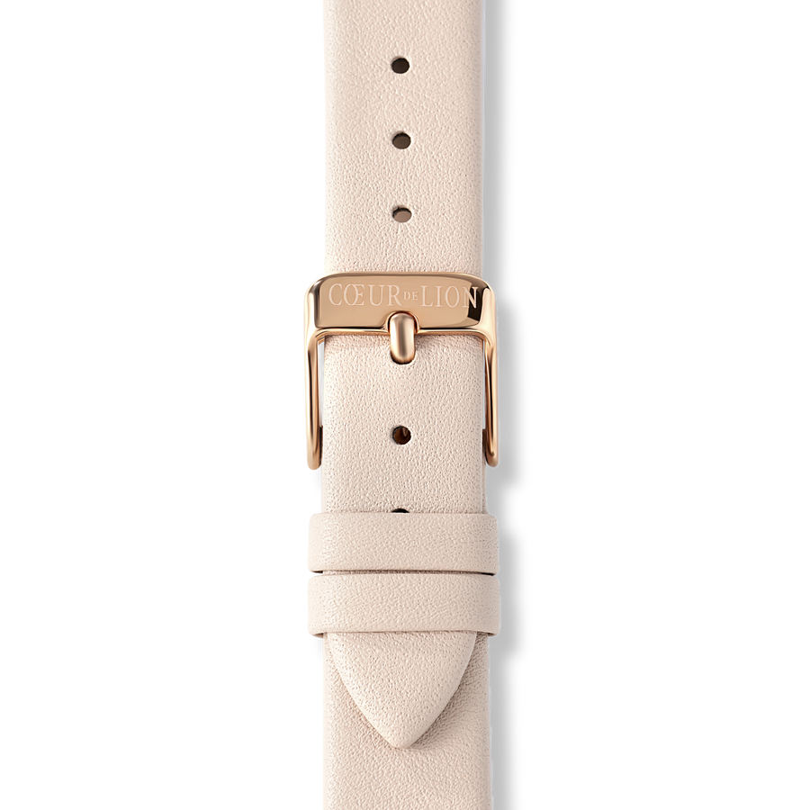 Watch Round Champagne Sunray Bracelet Leather Taupe