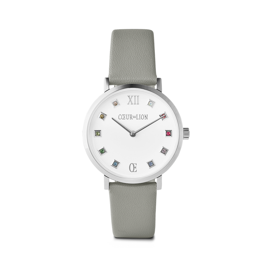 Watch Round Brilliant White Bracelet Leather Light Grey