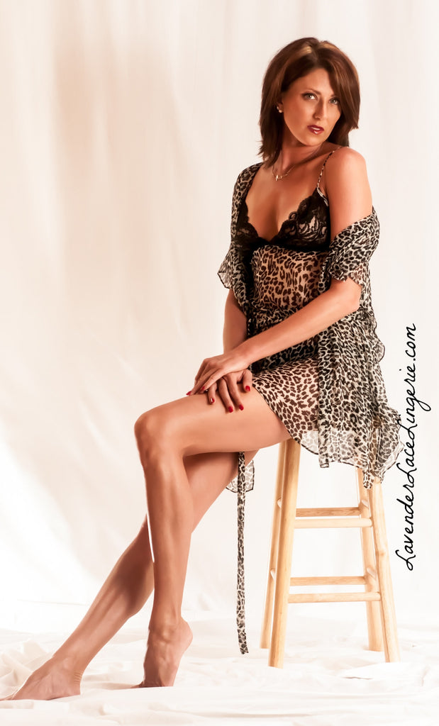ANIMAL PRINT SILK CHEMISE (WRAP SOLD SEPARATE)