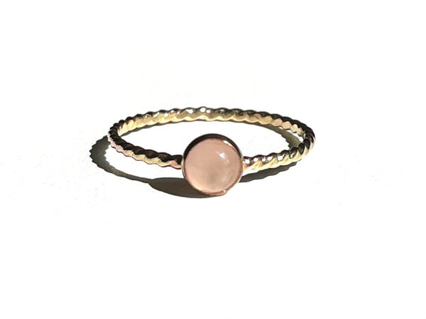 Rose Quartz Ring, Natural Rose Quart, Stacking Ring, Dainty Ring, Minimalist Ring, Simple Ring, Sterling Silver Ring, Gold Filled Ring