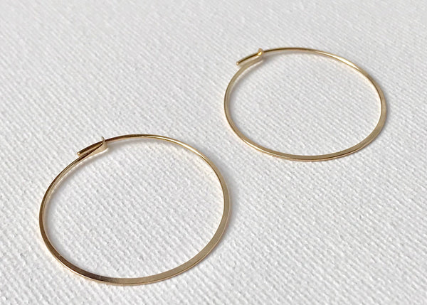 Constanza Hoops, Handcrafted Hammered Hoops, Everyday Hoops, Dainty Earrings, Boho Earrings, Gold Filled Hoops, Sterling Silver Hoops.
