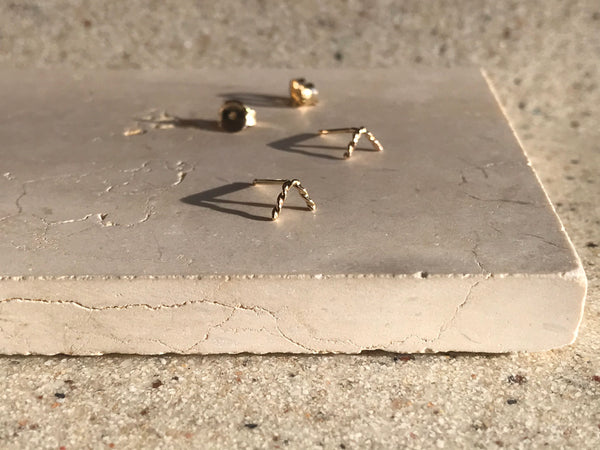 VERO Studs, 14k Recycled Gold Earrings, Chevron Earrings, Simple, Minimalist Earrings, Dainty Earrings, Sustainable Jewelry.