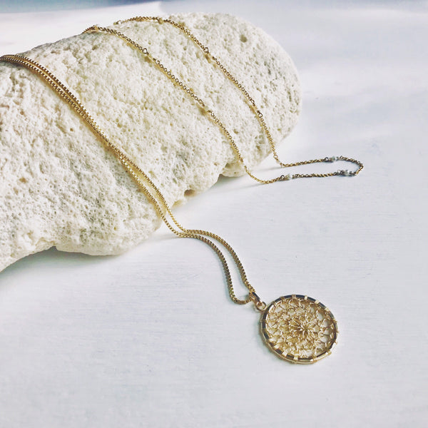 Medallón Crochet, Crochet Medallion, Circle Pendant, Gold Filled Pendant, Sterling Silver Pendant, Circle Necklace.