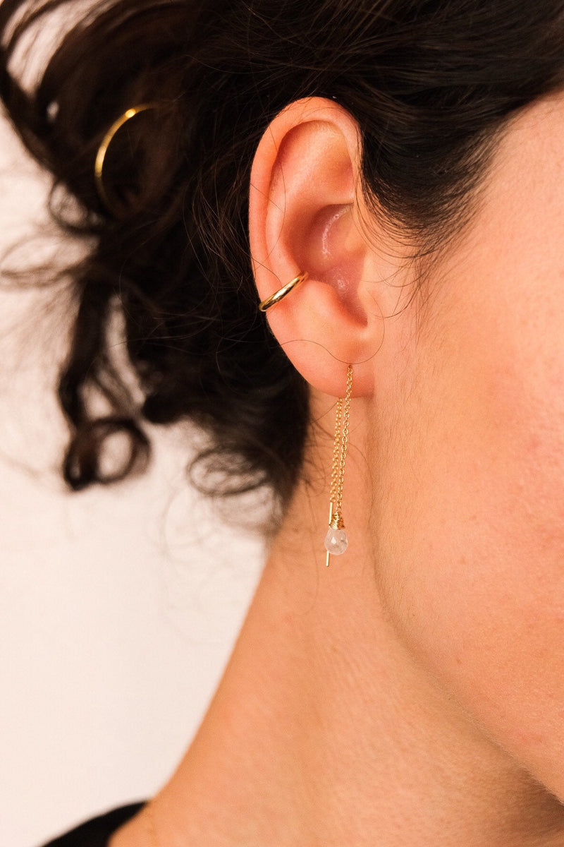 Threader Earring, Ear Threader, Long Chain Earring, Gold Filled Threaders, Sterling Silver Earrings.