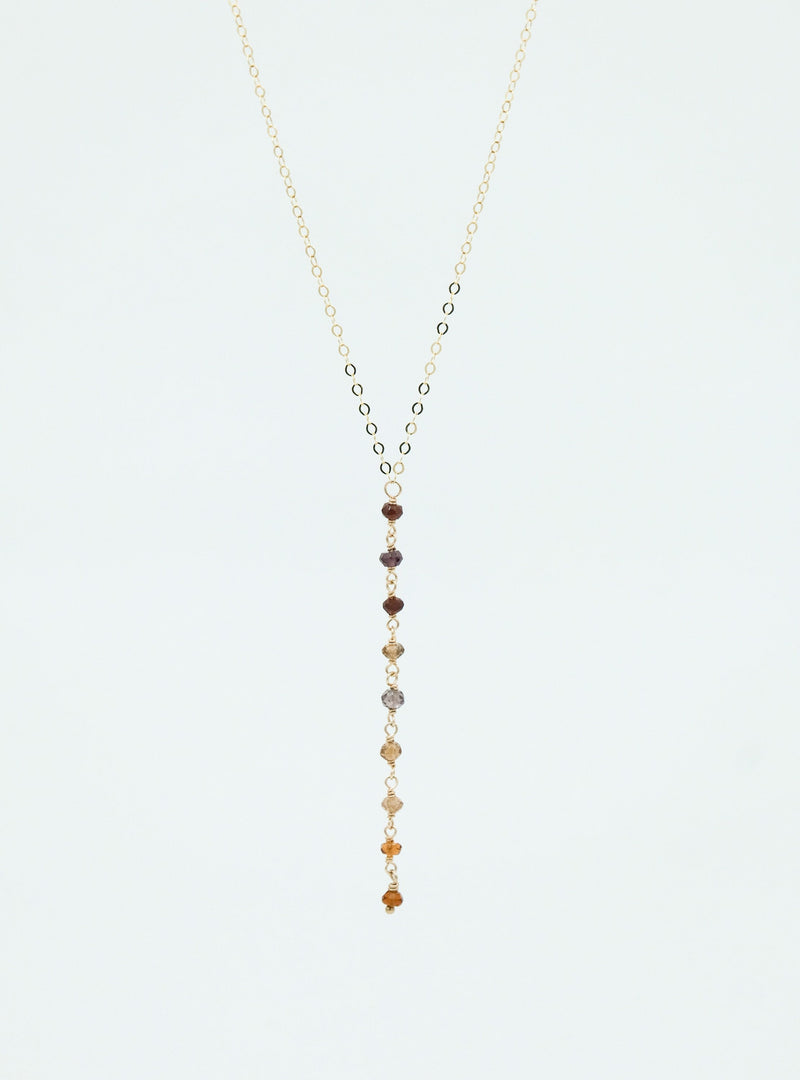 RELMU Lariat, Lariat Necklace, Tundra Sapphire Necklace, Garnet, Citrine, Gold Necklace, Sterling Silver Necklace, Rose Gold Necklace.