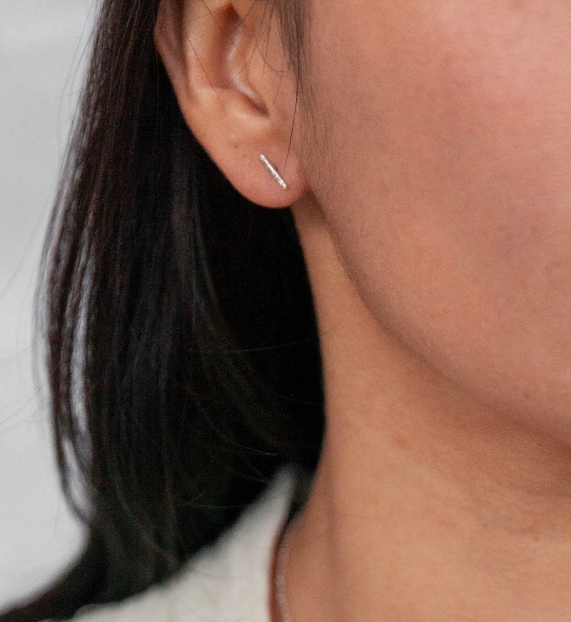 Barras, Sleek Bar Stud Earrings, Simple Earrings, Dainty Earrings, Minimalist Earrings, Rose/Gold Filled Studs, Sterling Silver Earrings.