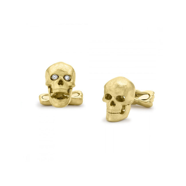 Deakin & Francis 18ct Yellow Gold Skull Cufflinks With Popping Diamond Eyes