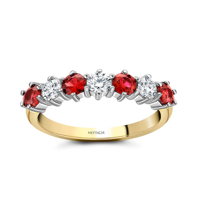 Rubies and Diamonds Half Eternity Ring