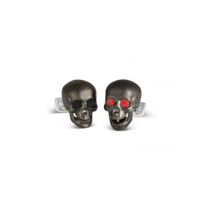 Deakin & Francis Skull Cufflinks With LED Eyes In Matte Black