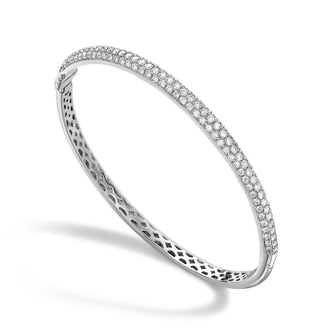 Diamond 1.78ct Three Row White Bangle