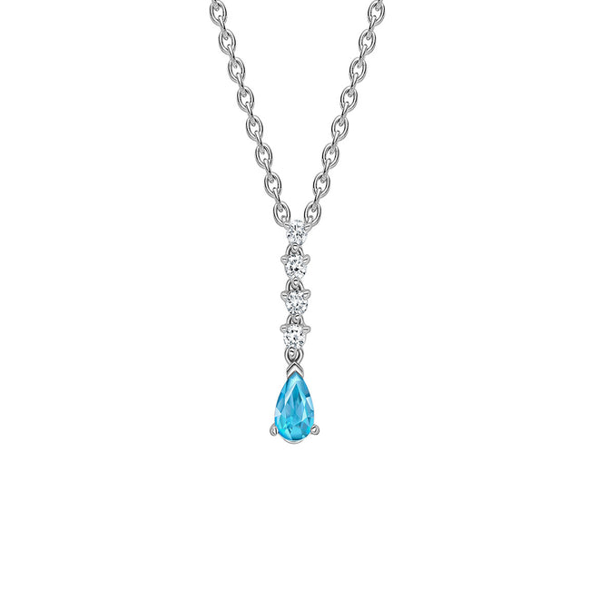 Aquamarine 0.35ct and Diamond Pendant