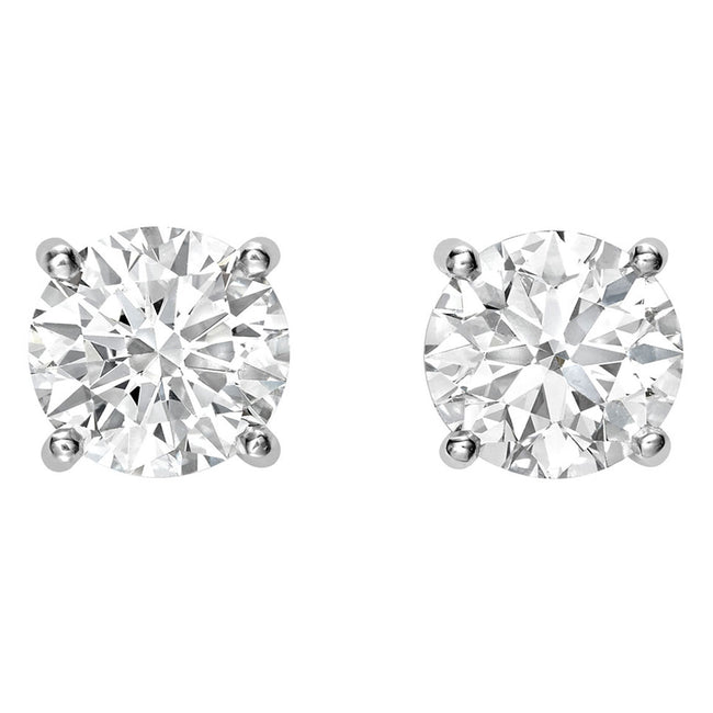 Round Brilliant Cut Diamond 4.09ct Earrings