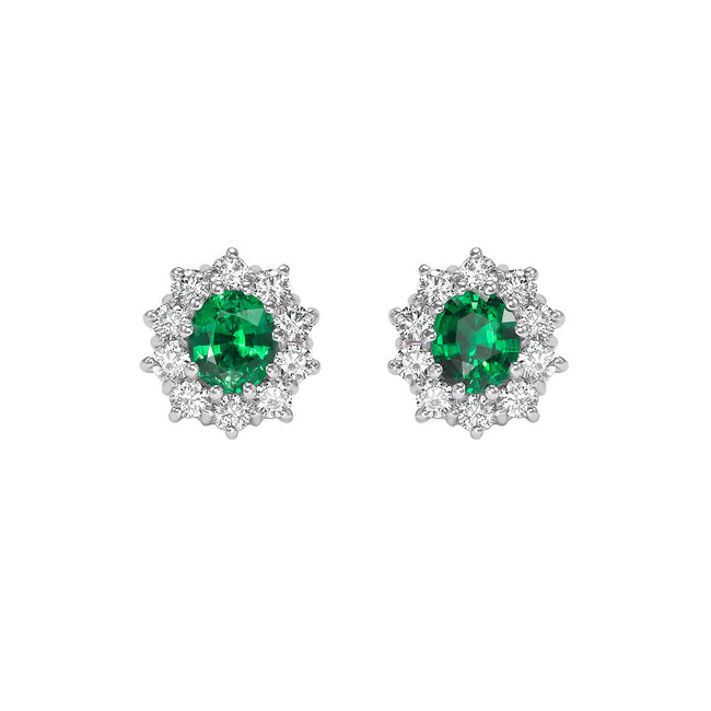 Emerald 1.29ct and Diamond Cluster Earrings