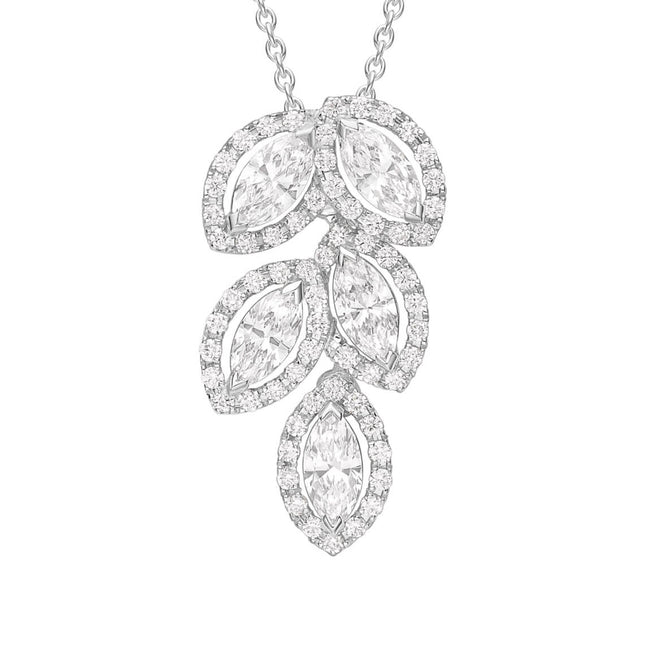 Fancy Diamond Multi Cluster Drop Pendant