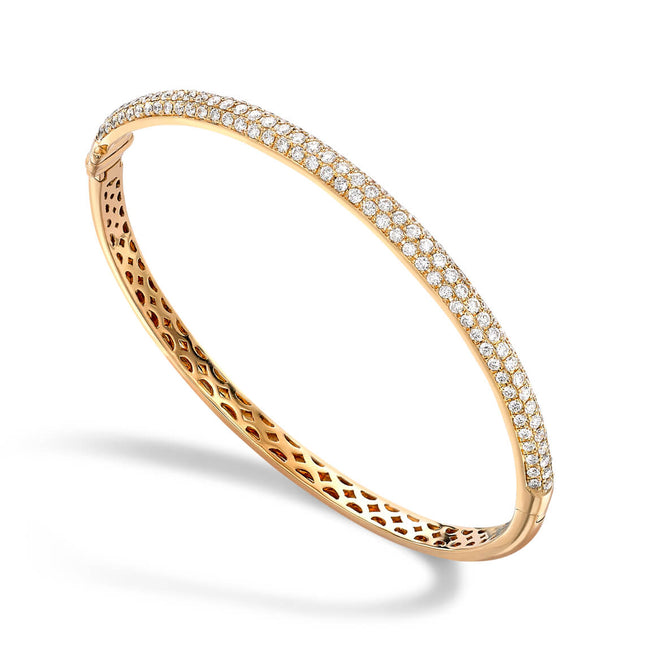 Diamond 1.78ct Three Rows Yellow Bangle