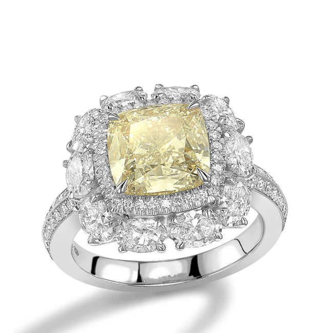 Cushion Cut Yellow Diamond 4.01ct Cluster Ring