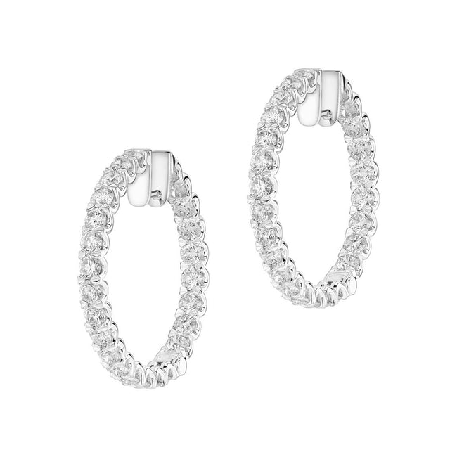 Diamond 3.48ct Hoop Earrings