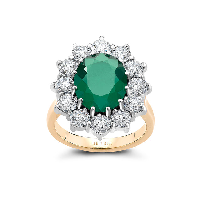 Emerald 3.79ct and Diamonds Cluster Ring
