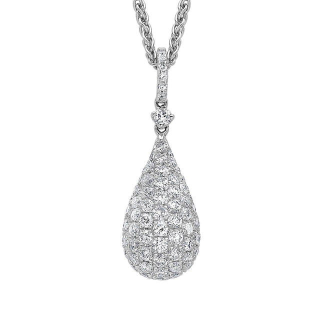 Pave Diamond Set 0.87ct Drop Pendant