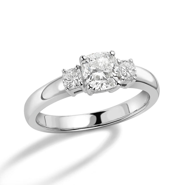 1.14ct Cushion Cut Diamond Three stone Ring