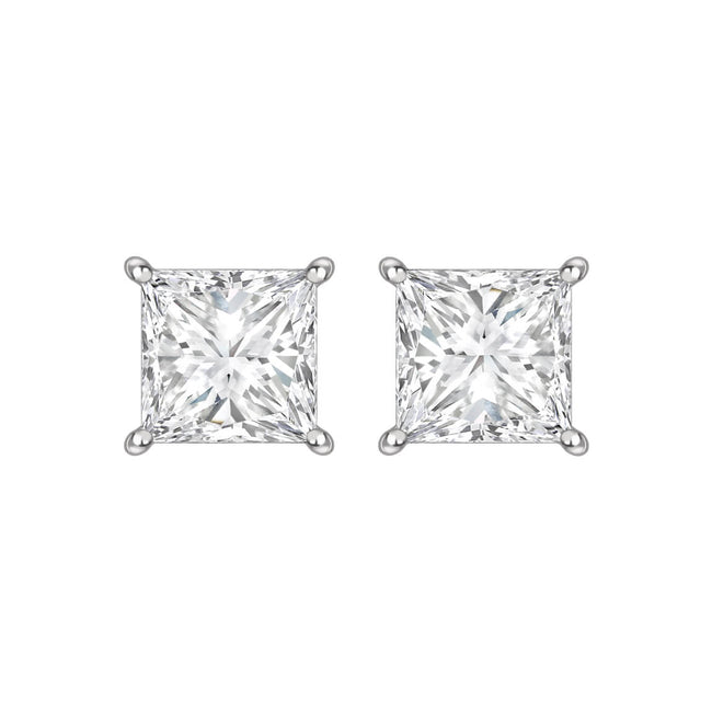 Princess Cut Diamond 1.49ct Stud Earrings