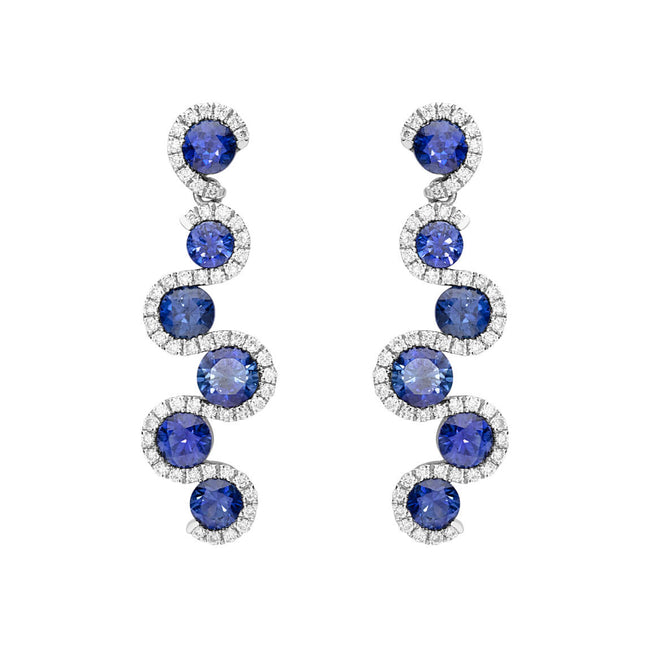 Sapphire 1.78ct and Diamond Drop Earrings