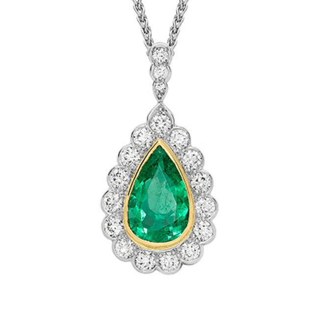 Emerald 4.19ct and Diamond Cluster Pendant