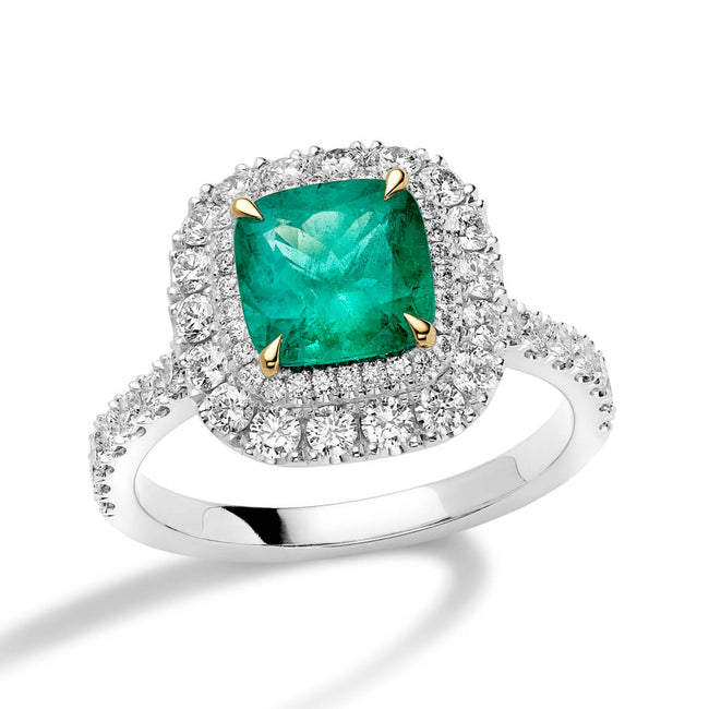 Emerald 2.00ct and Diamonds Cluster Ring