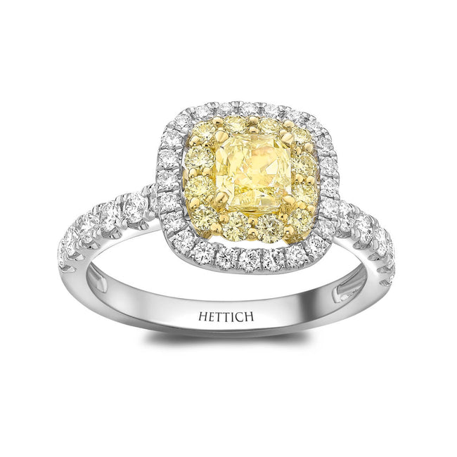 Yellow Diamond 0.62ct Cluster Ring