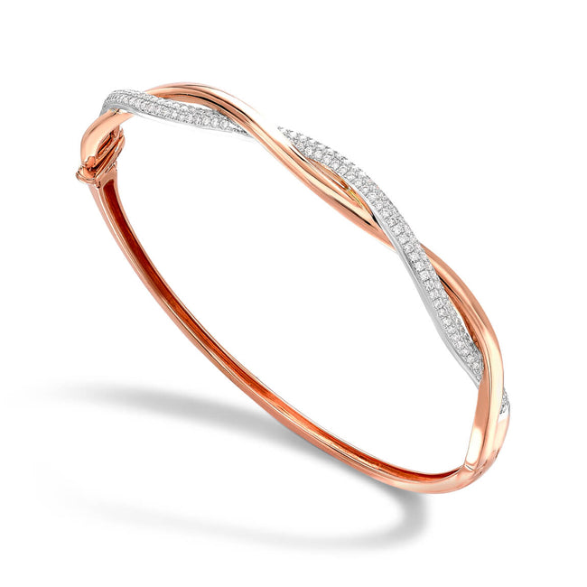 Entwined Diamond 0.66ct Rose Bangle