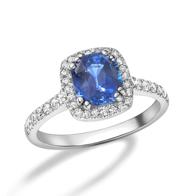 Sapphire 1.48ct and Diamonds Cluster Ring