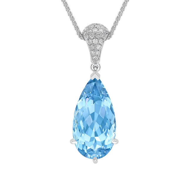 Aquamarine 5.86ct and Diamond Pendant