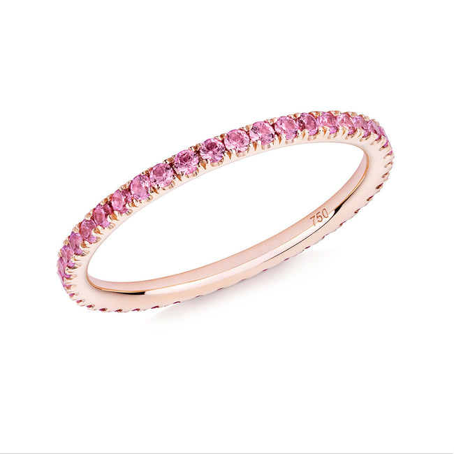 Verifine Pink Sapphires Full Eternity Ring in 18ct Rose Gold