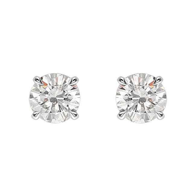 Round Brilliant Cut Diamond 1.40ct Stud Earrings