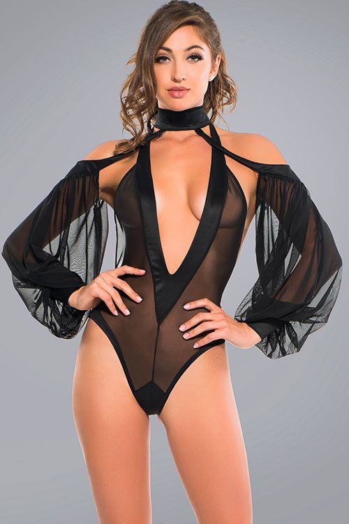 Teddy Adore With V-Neck & Sheer Sleeves Small - Black