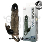 Penis Sleeve Brave Man With Vibrator Rabbit | Black
