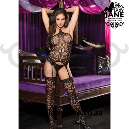 Bodystocking 3pc Black Set Open Bust