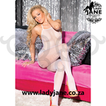 Bodystocking White Fishnet Halter Tie