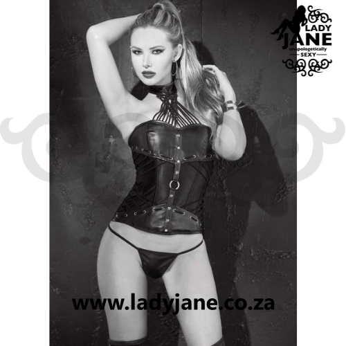 Queen Corset 42 Black Faux Leather