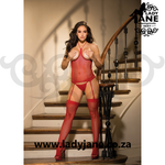 Bodystocking Red Fishnet 3pc