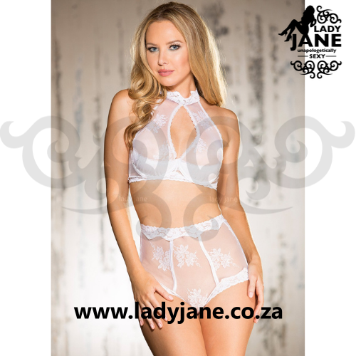 2pc White Set Clipped Lace S