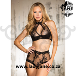 2pc Black Set Clipped Lace S