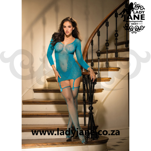 Queen Chemise Turquoise with Garter
